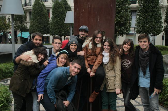 Alumnos de Creanavarra durante su visita a Bilbao