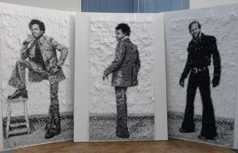 Nathalie Boutté realiza sus collages con largas tiras de papel