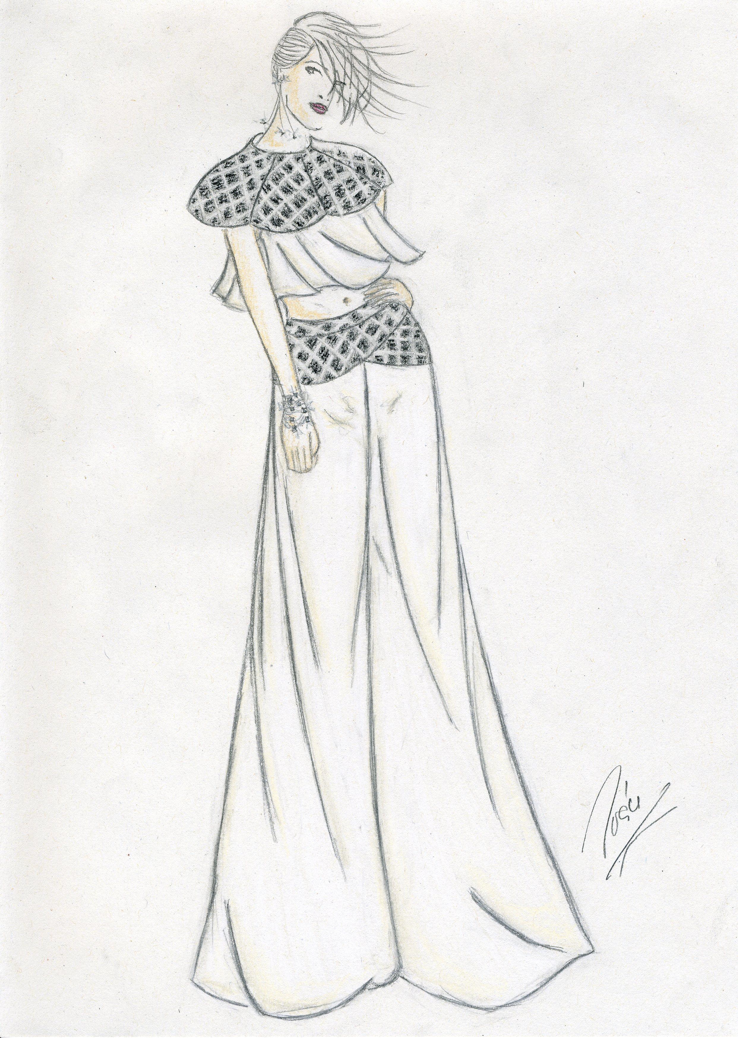 Boceto de Iván Puente, alumno de Diseño de Moda en Creanavarra
